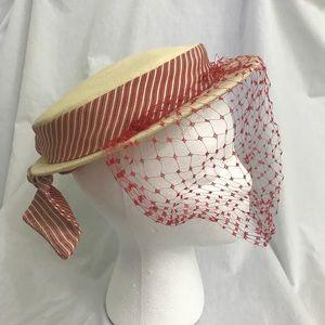 Vintage 40s Straw Mini Hat w Bird Cage Veil